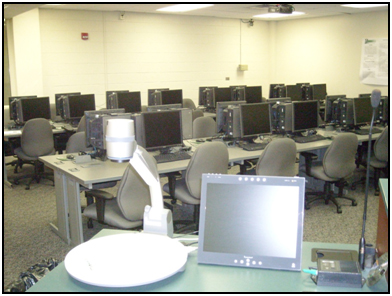 Computer Design/applications Laboratory, as viewed from the instructor podium