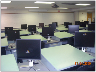 Each Student Desk Unit Is Equipped With A Drawing Table Which Is 3 Ft. X 2  Ft. In Addition, Each Desk Has A Personal Computer Workstation.